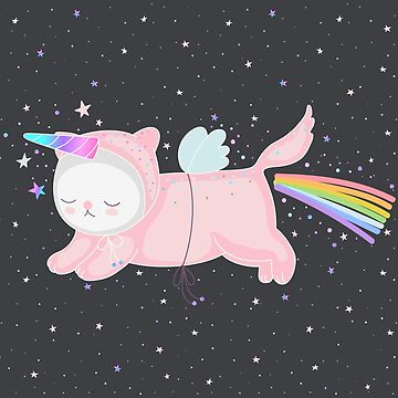 Unicorn Cat in the Night Sky by marinademidova