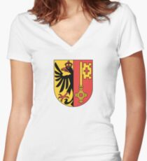 Coat of Arms of Geneva Canton Women's Fitted V-Neck T-Shirt