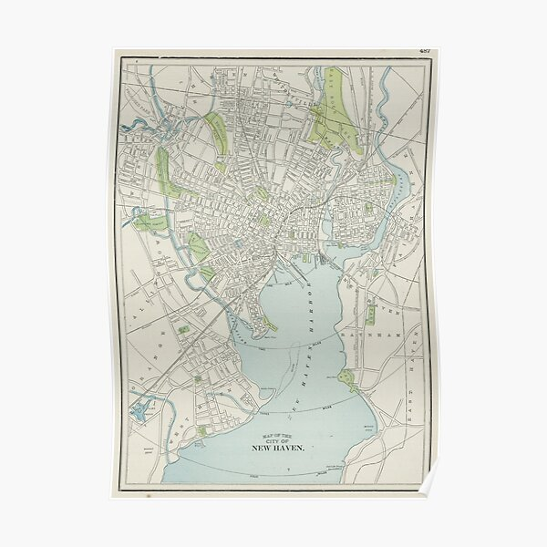 Vintage Map of New Haven Connecticut (1901) Poster