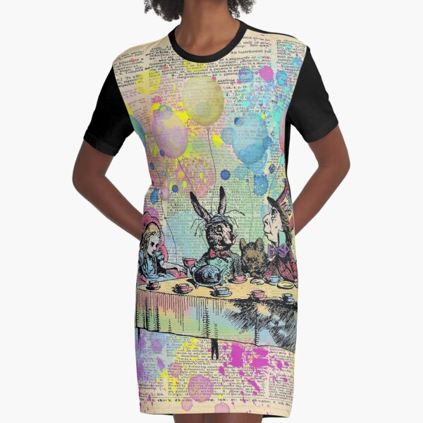Tea Party Celebration - Alice In Wonderland Graphic T-Shirt Dress