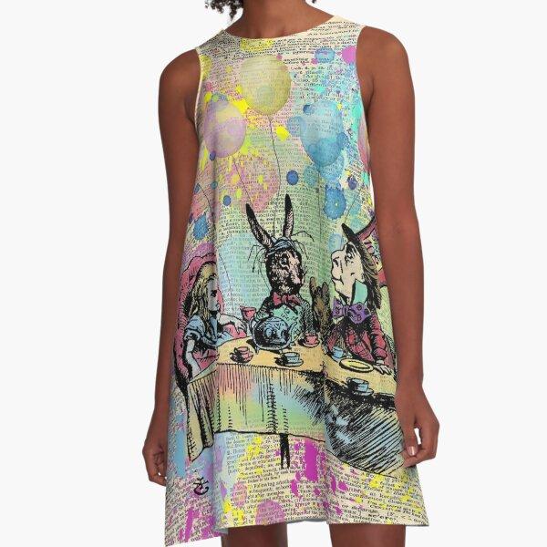 Tea Party Celebration - Alice In Wonderland A-Line Dress