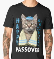 Passover Cute Cat Saying Happy Passover T Shirt  Funny Jewish Pesach Holiday  Men's Premium T-Shirt