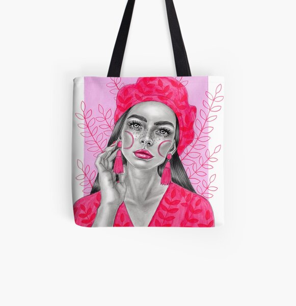 Pink lady All Over Print Tote Bag