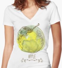 fresh useful eco-friendly apple Women's Fitted V-Neck T-Shirt