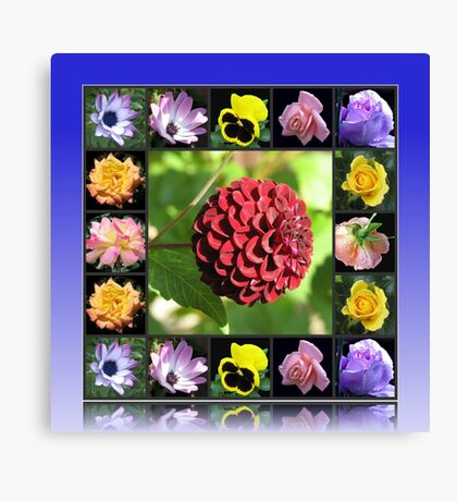 Summer Flowers Collage in Reflection Frame featuring Dahlia Leinwanddruck