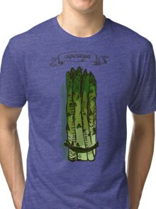 watercolor hand drawn vintage illustration of asparagus Tri-blend T-Shirt