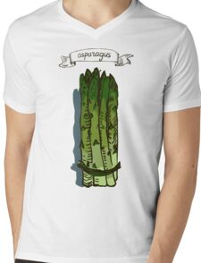 watercolor hand drawn vintage illustration of asparagus Mens V-Neck T-Shirt