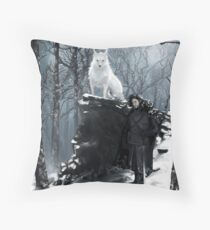 Man and Wolf Throw Pillow