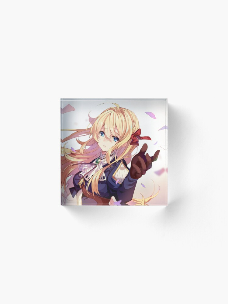 Alternate view of Violet on the Letter Garden Acrylic Block