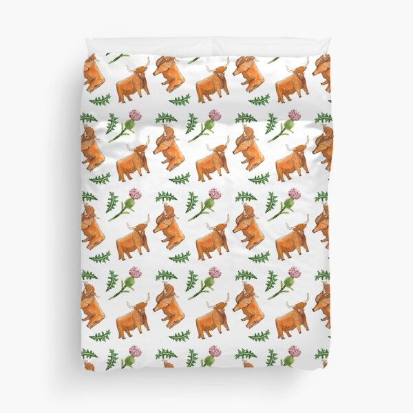 Highland cattle and Thistle Duvet Cover