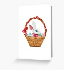 Easter Bunny in Basket Greeting Card