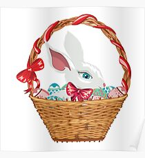 Easter Bunny in Basket Poster