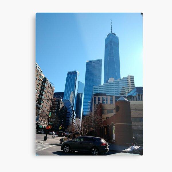 New York, Manhattan, Brooklyn, New York City, architecture, street, building, tree, car, pedestrians, day, night, nightlight, house, condominium,  Metal Print