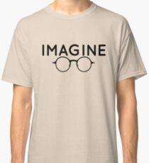 Stellen Sie sich vor, runde Brille, Brille, Frieden, Hippie, Pazifismus, wählen Sie Frieden Classic T-Shirt
