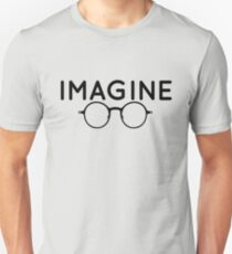 Imagine, round glasses, spectacles, peace, hippie, pacifism, choose peace Unisex T-Shirt