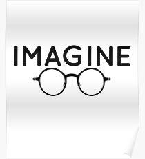 Stellen Sie sich vor, runde Brille, Brille, Frieden, Hippie, Pazifismus, wählen Sie Frieden Poster
