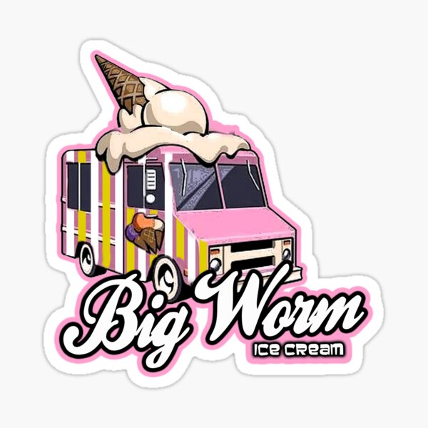 Big Worm Ice cream Sticker