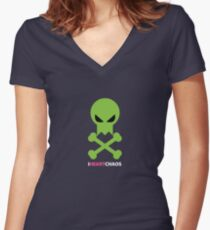 I Heart Chaos Skull Tee Women's Fitted V-Neck T-Shirt