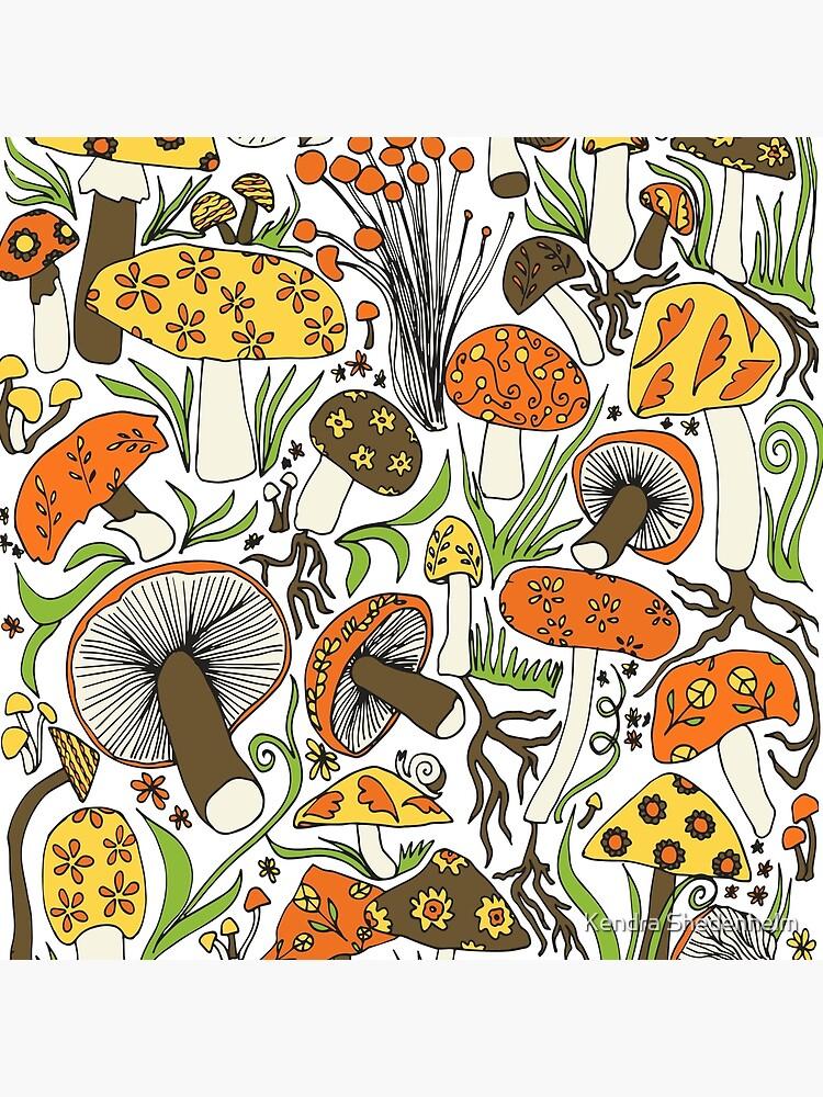 Mushrooms Drawing, Memories of the 70s by KShedenhelm