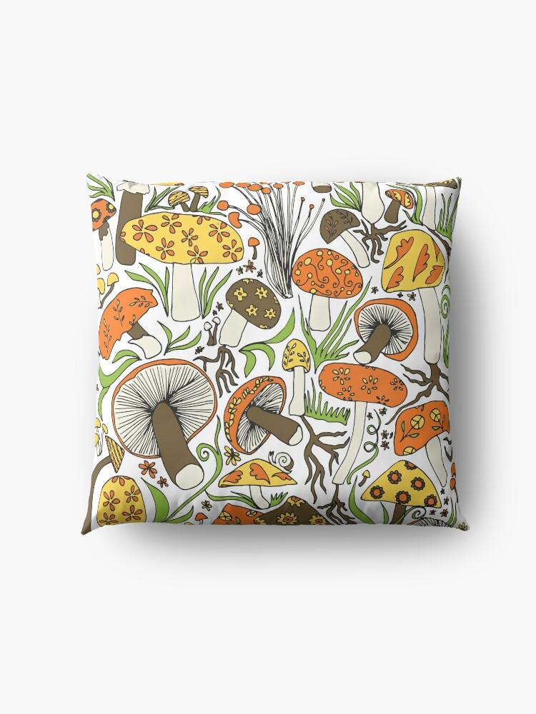 Alternate view of Mushrooms Drawing, Memories of the 70s Floor Pillow