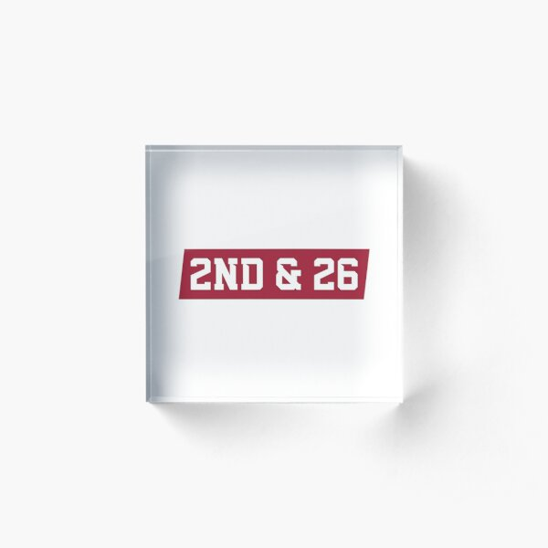 2nd And 26 - Red Acrylic Block