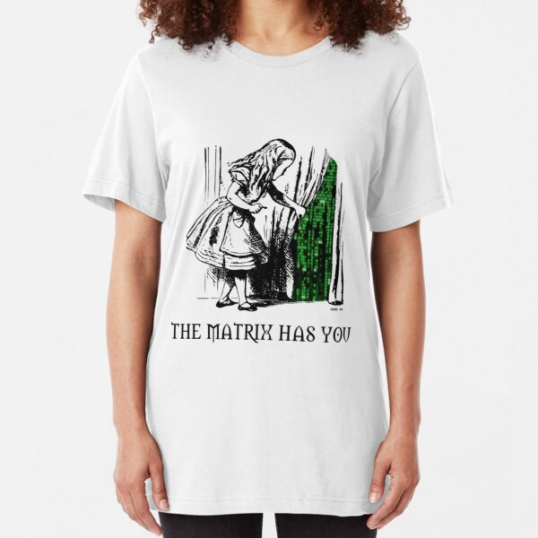 Alice in the Wonderland Matrix Rabbit Hole  Slim Fit T-Shirt