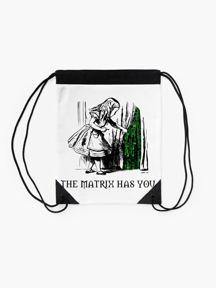 Alternate view of Alice in the Wonderland Matrix Rabbit Hole  Drawstring Bag