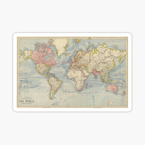 Vintage Map of The World (1883) Sticker