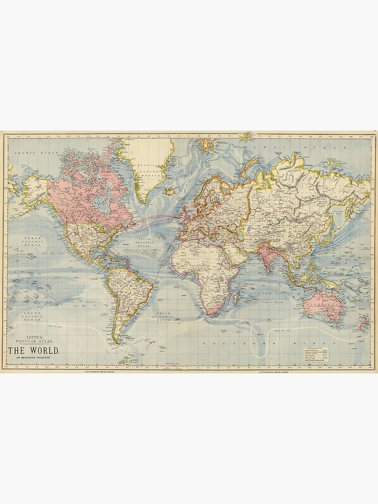 Vintage Map of The World (1883) by BravuraMedia