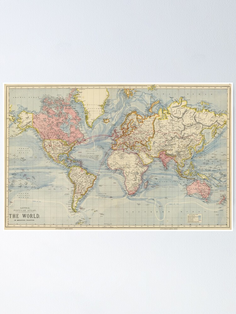 Alternate view of Vintage Map of The World (1883) Poster