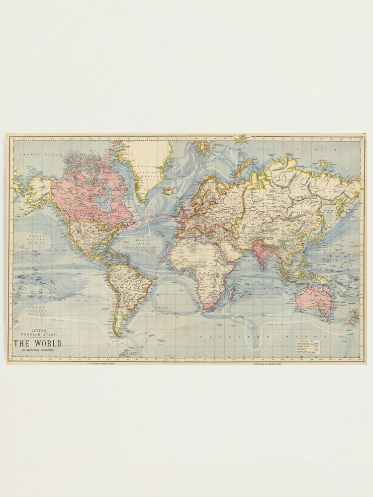 Alternate view of Vintage Map of The World (1883) Photographic Print