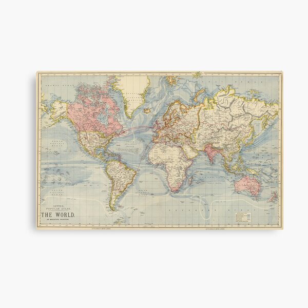 Vintage Map of The World (1883) Canvas Print