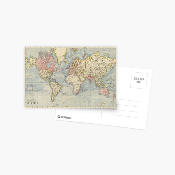Vintage Map of The World (1883) Postcard