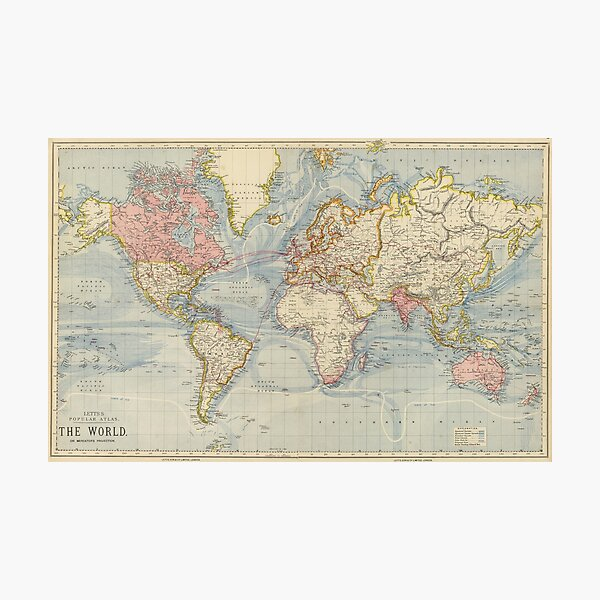 Vintage Map of The World (1883) Photographic Print