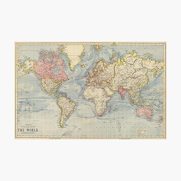 Vintage Karte der Welt (1883) Fotodruck