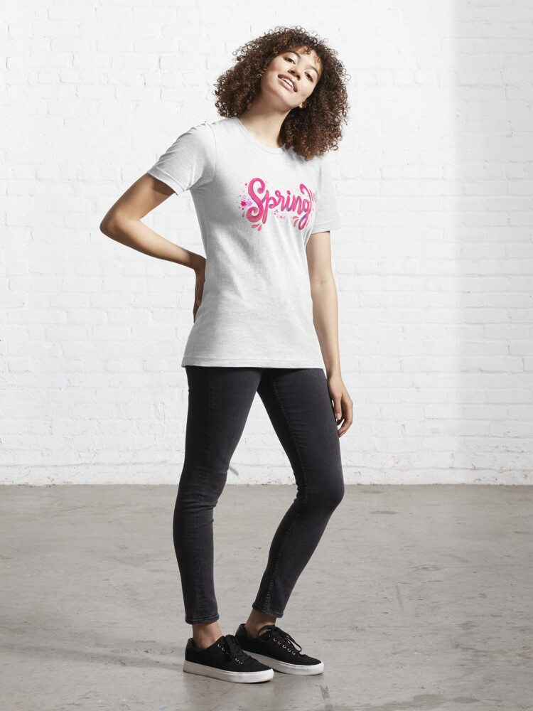 Alternate view of Spring - Pink hand written calligraphy Essential T-Shirt