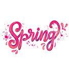Spring - Pink hand written calligraphy by Miruna Illustration