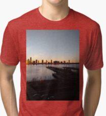 New York, Manhattan, Brooklyn, New York City, architecture, street, building, tree, car, pedestrians, day, night, nightlight, house, condominium,  Tri-blend T-Shirt