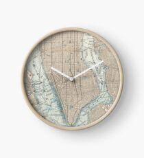 Reloj Mapa vintage de la ciudad de Nueva York (1893)