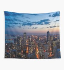 Chicago Night Skyline Wall Tapestry