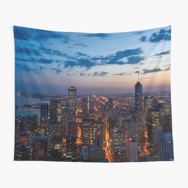 Chicago Night Skyline Tapestry