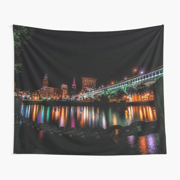 Cleveland Night Skyline Tapestry