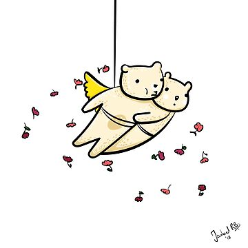 Flying bears with roses illustration by isabelrb