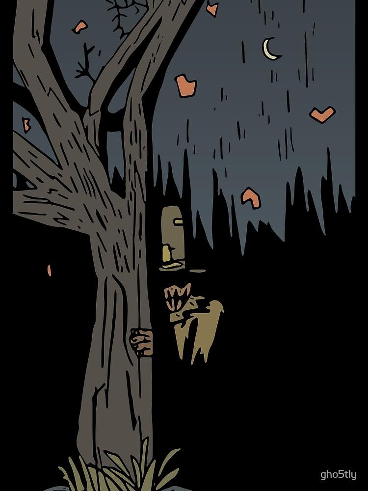 Eine Vogelscheuche beobachtet die Schatten von gho5tly