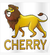 Cherry Lion Drawstring Bags Poster