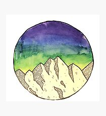 Watercolor Night-time Mountains Photographic Print