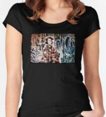 Ripley and the Alien Art Print. Aliens, Sigourney Weaver, Joe Badon, Ridley Scott, James Cameron, Drawing, illustration, sci fi, horror Women's Fitted Scoop T-Shirt