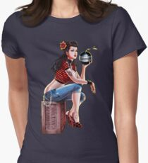 SheVibe Bomb Girl Cover Art Womens Fitted T-Shirt