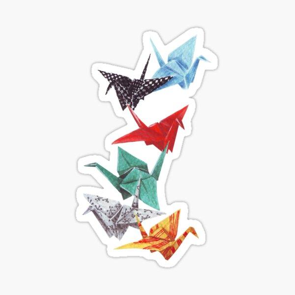 Mixed Media Origami Cranes Sticker