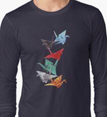 Mixed Media Origami Cranes Long Sleeve T-Shirt